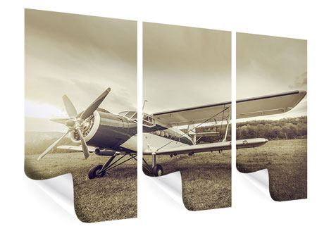 Poster 3-teilig Nostalgisches Flugzeug im Retrostyle