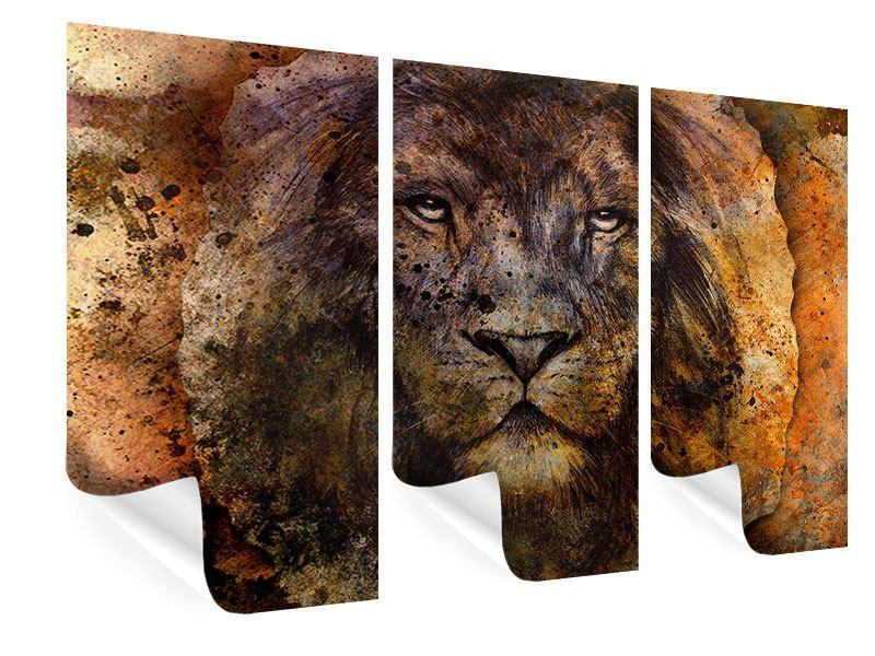 Poster 3-teilig Portrait eines Löwen