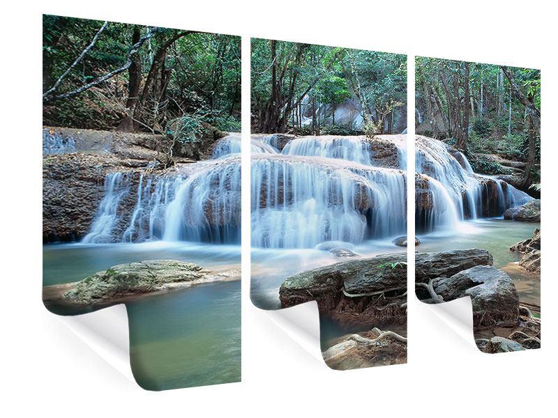 Poster 3-teilig Ein Wasserfall