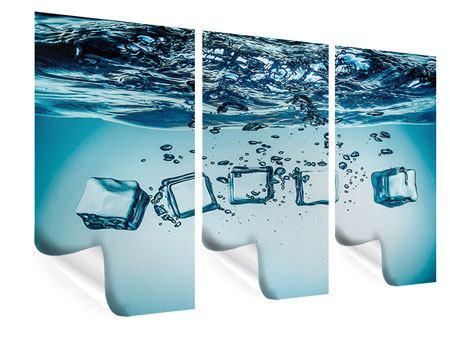 Poster 3-teilig Eiswürfel-Quadro