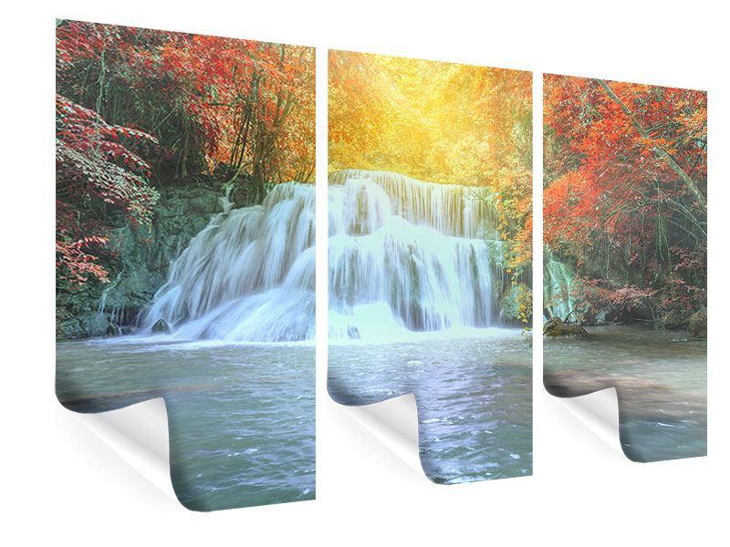 Poster 3-teilig Wasserfall im Licht