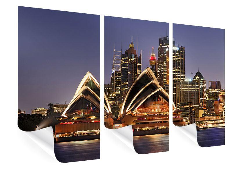 Poster 3-teilig Skyline Mit dem Boot vor Sydney