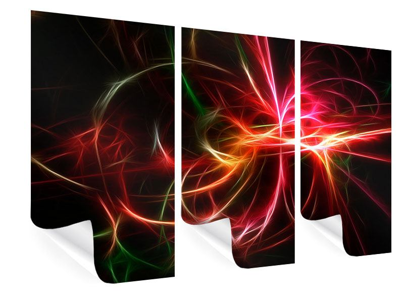 Poster 3-teilig Fraktales Lichtspektakel