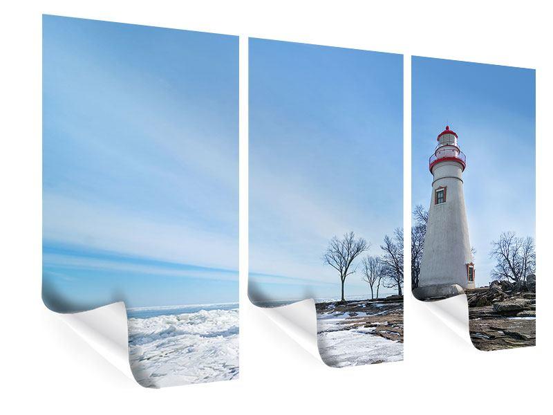 Poster 3-teilig Leuchtturm im Schnee