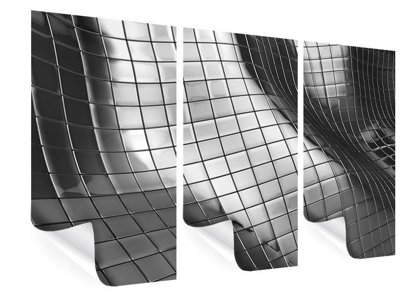 Poster 3-teilig Abstrakter Stahl