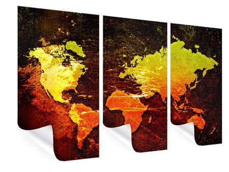 Poster 3-teilig Retro-Weltkarte