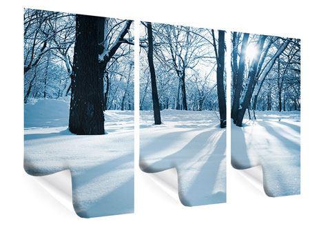 Poster 3-teilig Der Wald ohne Spuren im Schnee