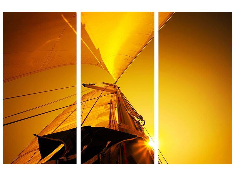 Poster 3-teilig Segelboot im Sonnenuntergang