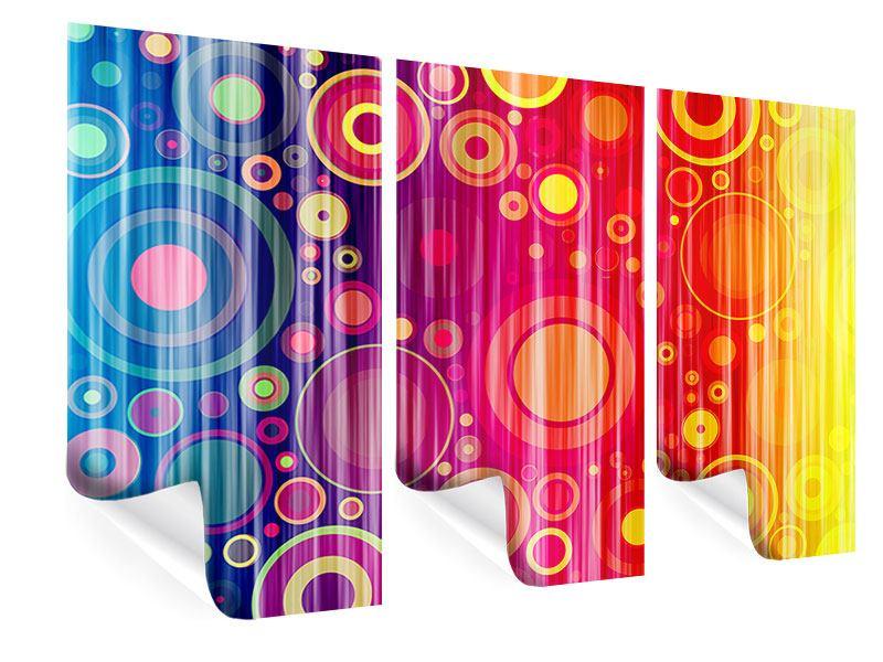 Poster 3-teilig Grunge-Retrokreise