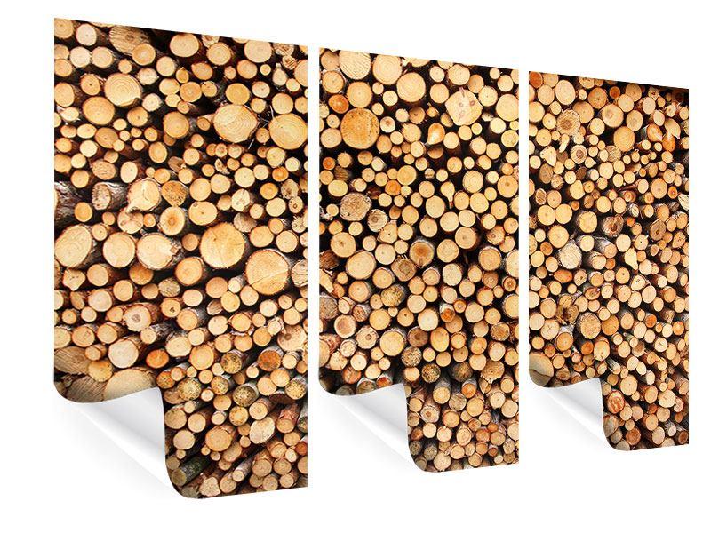 Poster 3-teilig Holzstämme