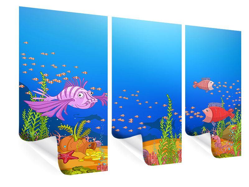Poster 3-teilig Der Schatz unter Wasser