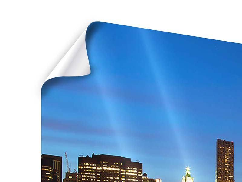 Poster 3-teilig Skyline Manhattan im Lichtermeer
