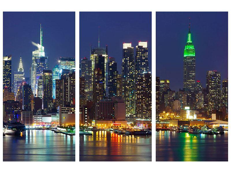 Poster 3-teilig Skyline New York Midtown bei Nacht