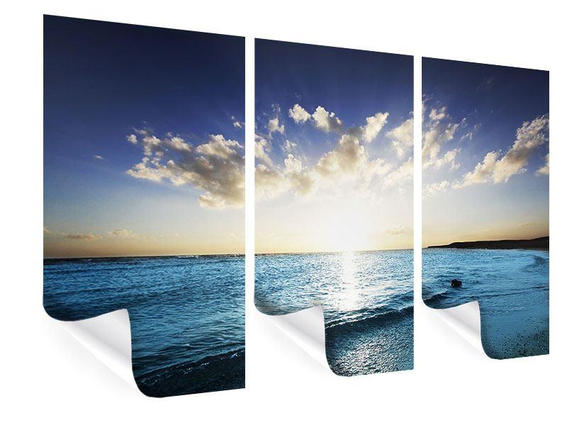 Poster 3-teilig Das Meer im Sonnenaufgang