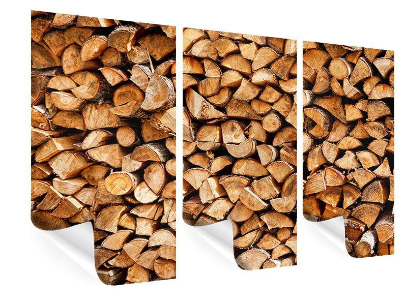 Poster 3-teilig Gestapeltes Holz