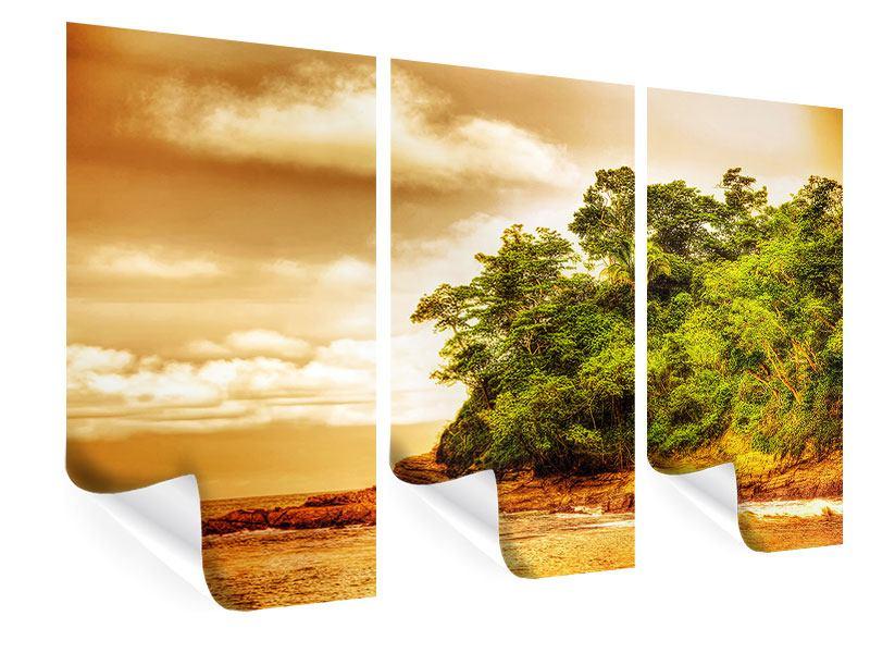 Poster 3-teilig Sonnenuntergang am Ende des Waldes