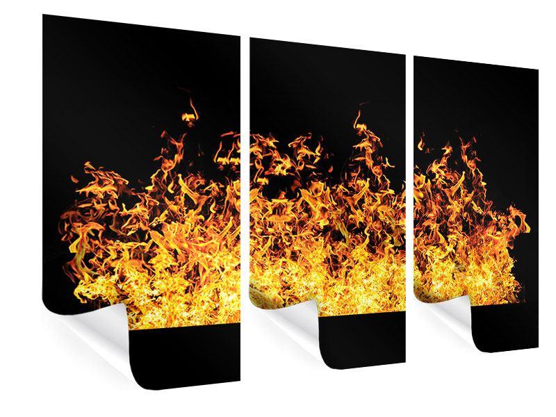 Poster 3-teilig Moderne Feuerwand