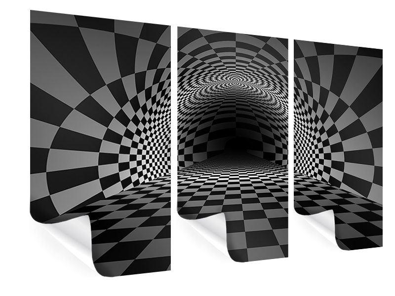 Poster 3-teilig Abstraktes Schachbrett
