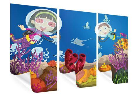 Poster 3-teilig Fröhliche Fische
