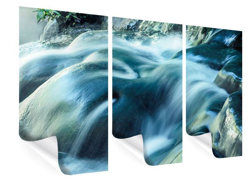 Poster 3-teilig Das Fliessende Wasser
