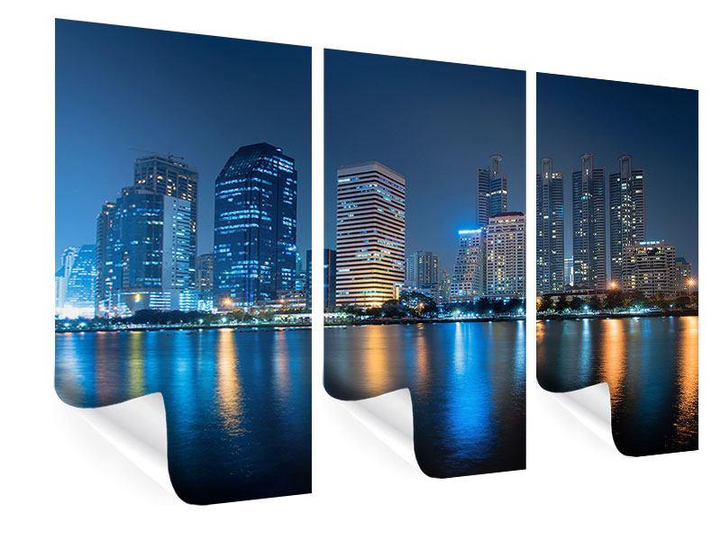Poster 3-teilig Skyline Bangkok bei Nacht
