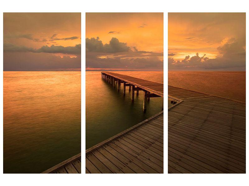 Poster 3-teilig Der Steg am Meer