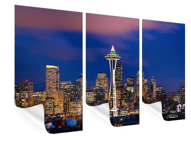 Poster 3-teilig Skyline Seattle