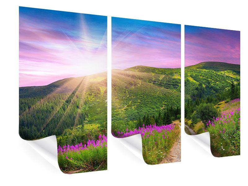 Poster 3-teilig Eine Sommerlandschaft bei Sonnenaufgang