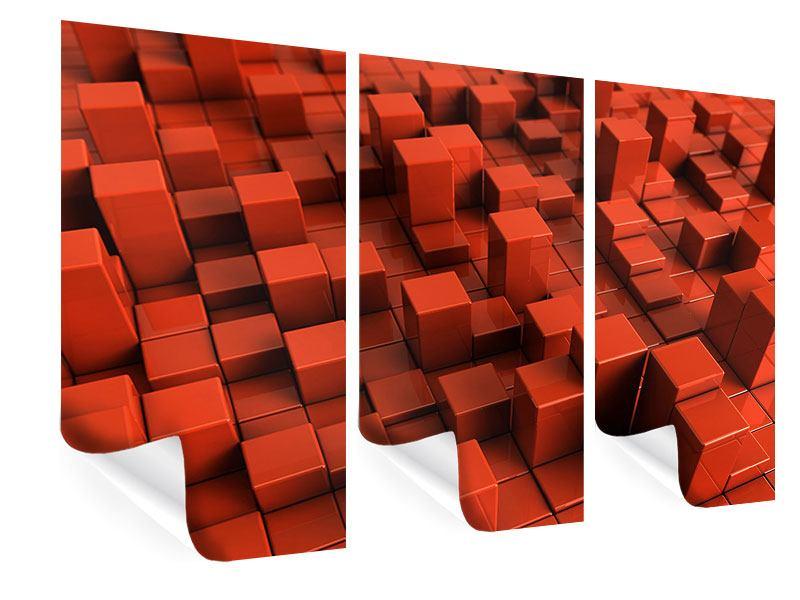 Poster 3-teilig 3D-Rechtkant