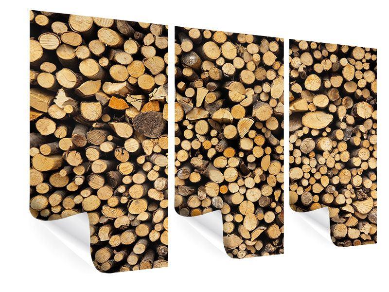 Poster 3-teilig Brennholz