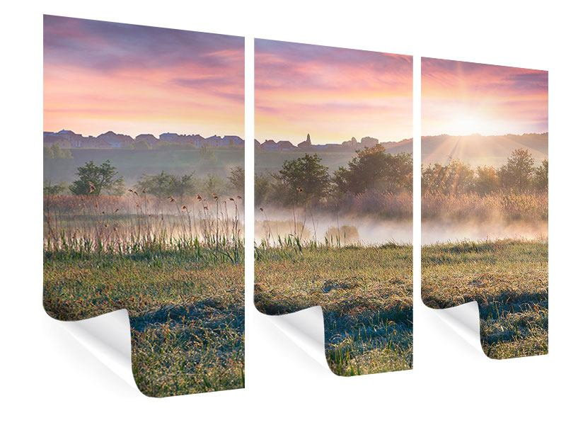 Poster 3-teilig Sonnenuntergang am Hügel