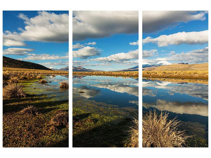 Poster 3-teilig Wasserspiegelung am See
