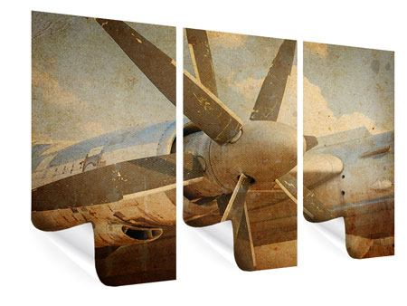Poster 3-teilig Propellerflugzeug im Grungestil