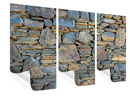 Poster 3-teilig Natürliche Steinmauer