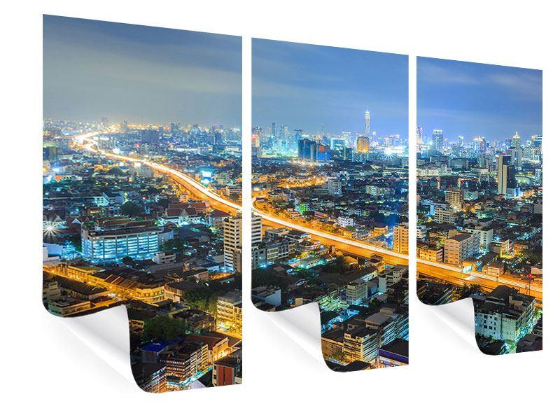 Poster 3-teilig Skyline Bangkok im Fieber der Nacht