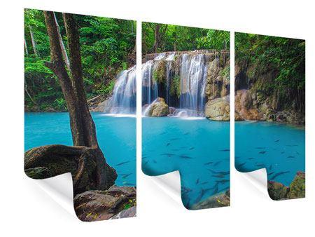 Poster 3-teilig Naturerlebnis Wasserfall