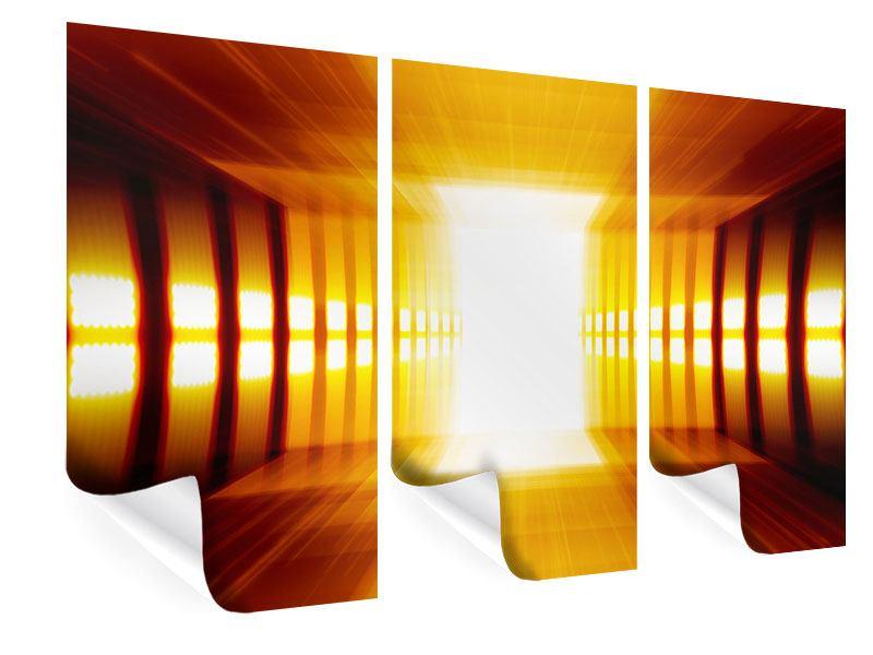 Poster 3-teilig Abstrakter Goldener Raum
