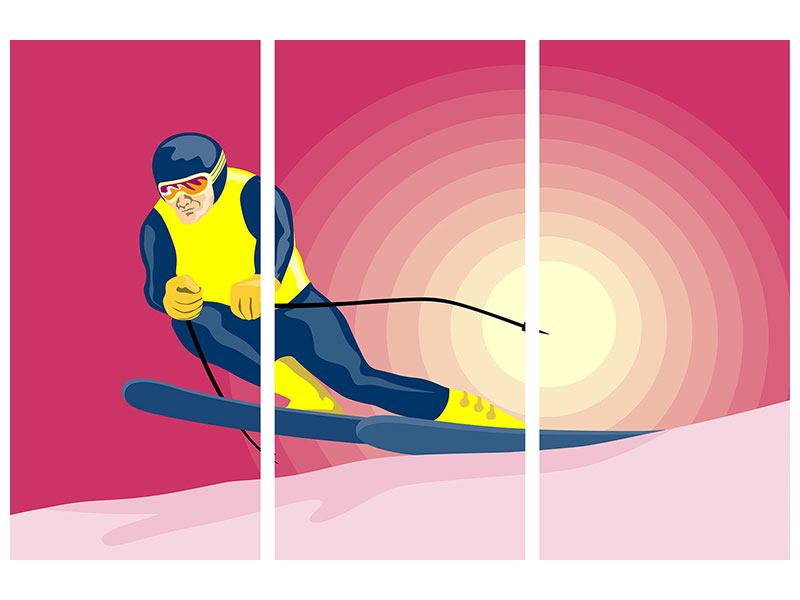 Poster 3-teilig Retro-Skifahrer