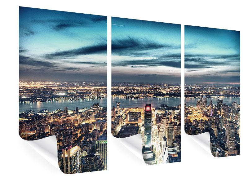 Poster 3-teilig Skyline Manhattan Citylights