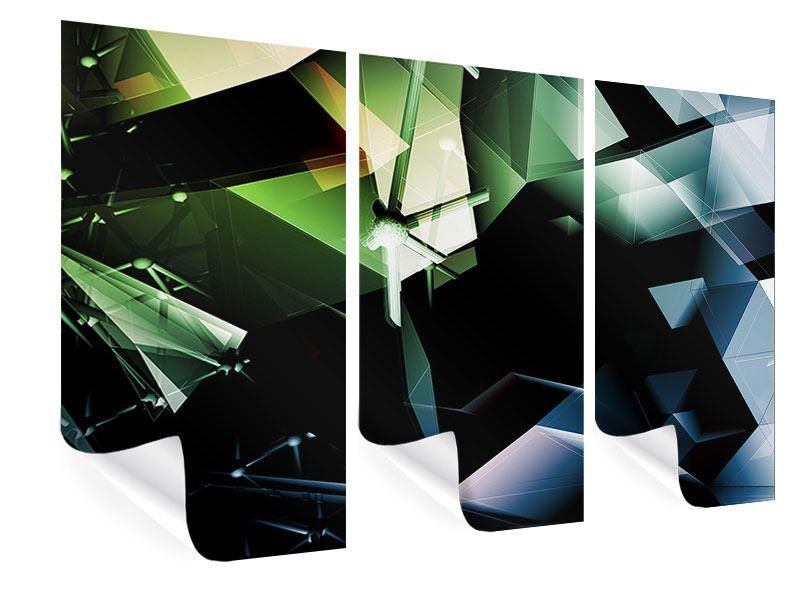 Poster 3-teilig 3D-Polygon