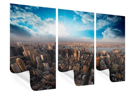Poster 3-teilig Skyline Über den Dächern von Manhattan