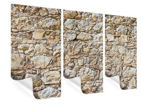 Poster 3-teilig Sandsteinmauer