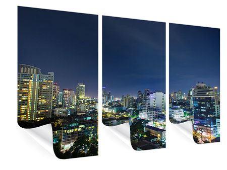 Poster 3-teilig Skyline Nachts in Bangkok