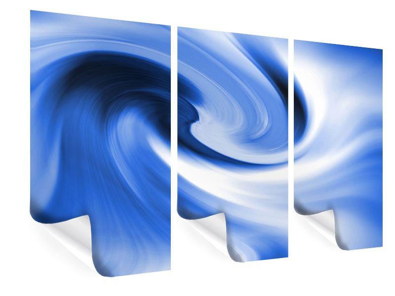 Poster 3-teilig Abstrakte blaue Welle