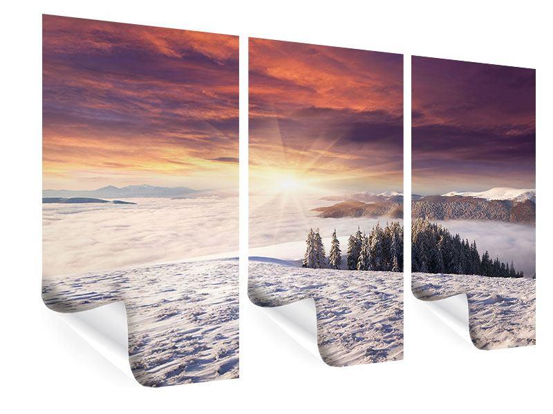 Poster 3-teilig Sonnenaufgang Winterlandschaft