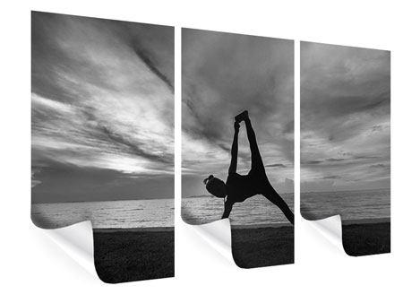 Poster 3-teilig Yoga am Strand