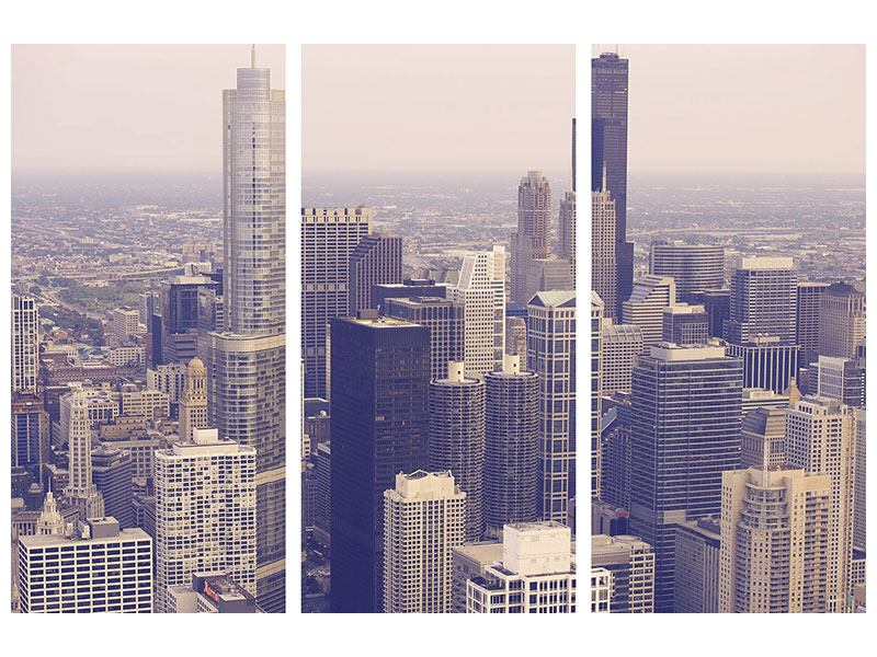 Poster 3-teilig Skyline Chicago in Sepia