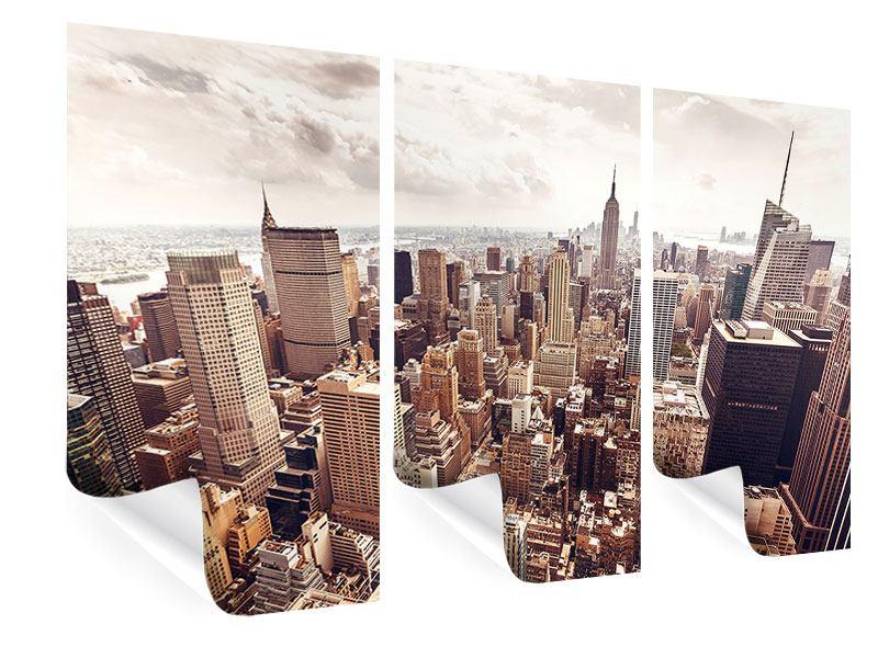 Poster 3-teilig Skyline Über den Dächern Manhattans