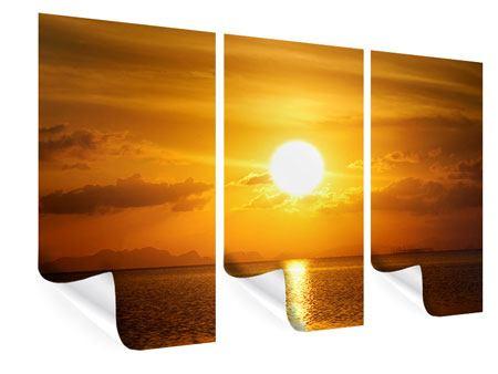 Poster 3-teilig Sonnenuntergang See