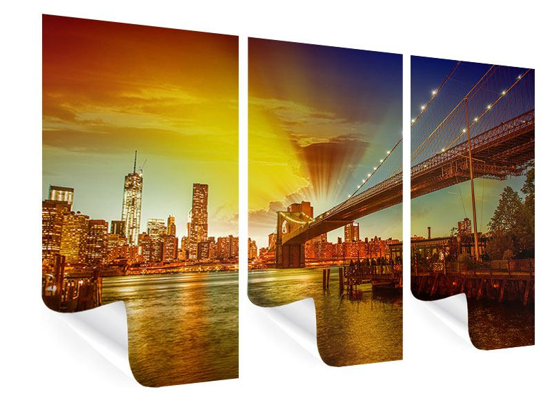 Poster 3-teilig Skyline Brooklyn Bridge NY